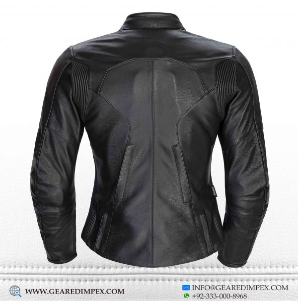 MOTORCYCLE WOMEN ARMOUR LEATHER JACKET BLACK