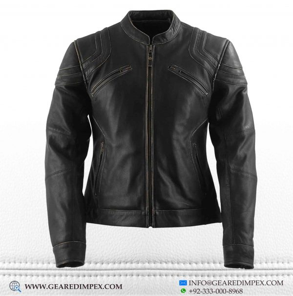 MOTORCYCLE WOMEN ARMOUR LEATHER JACKET F