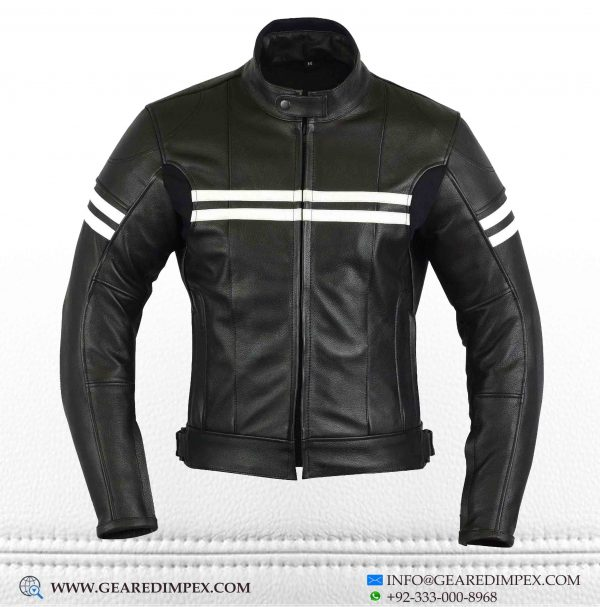 MOTORCYCLE WOMEN CAFERACER ARMOUR LEATHER JACKET F